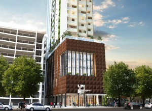 A mixed use residential tower that provides a retail tenancy and active frontage at ground level.